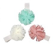 Ribbon Flower Fashion Hair Clips (Ivory, Mint Green, & Light Brown - 3PC Set) | Incredibly Cute, All-Purpose Alligator Beauty Clip | Made in Korea and Hand-Assembled