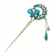 Happy Hours - Retro Elegant Butterfly Flowers Rhinestone Hairpin / Vintage Alloy Tassels Hair Pin Stick for Women and Girls