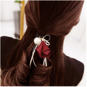 Casualfashion 6Pcs . Korean Morning Glory Flower Ribbon Hair Bows Hair Ties Ponytail Holder for Women Girls
