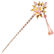 LiveZone Fashion Hair Decor Chinese Traditional Style Women Girls Hair Stick Hairpin Hair Making Accessory with Flower and Tassels ,Colourful