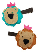 Royal Bear Fashion Hair Clip (Turquoise & Brown, 2PC Set) | Cute, All-Purpose Alligator Beauty Clips | Made in Korea and Hand-Assembled