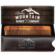 Hair Comb - Wood with Anti-Static & No Snag with Fine and Medium Tooth for Head Hair, Beard, Moustache with Premium Carrying Pouch in High Quality Design in Gift Box by Rocky Mountain