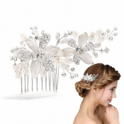 Meiysh Vintage Bridal Side Hair Comb Wedding Hairpiece with Flowers & Water Pearls