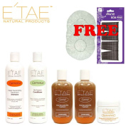 Etae Natural Products Carmelux Shampoo, Conditioner, 2 E'tae Carmel Treatment, Buttershine Kit (5 items) with Caps and Bobby Pins