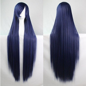 Womens Ladies Girls 100cm Indigo Colour Long Straight Wigs High Quality Hair Carve Cosplay Costume Anime Party Bangs Full Sexy Wigs
