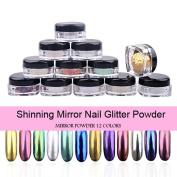 PrettyDiva 12pcs/set Mirror Nail Glitter Powder Nail Art Chrome Pigment Shinning Metallic Nail