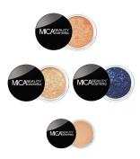 Mica Beauty Bundle 5 Items : Eye Shimmer # 13 Coral,# 8 Tease, #79 Royal , #Eye Primer, Duo Brush