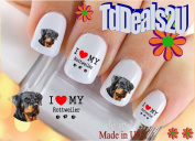 Rottweiler I Love - Dog Breed Nail Decals - WaterSlide Nail Art Decals - Highest Quality! Made in USA