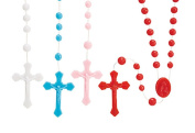 Assorted Colour Bead Rose Cord Rosary, 44cm 4.1cm Crucifix Pack of 100
