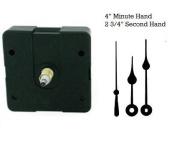 Quartex Quartz Clock Movement Kit with 10cm Black Spade Hands for Dials up to 1.3cm