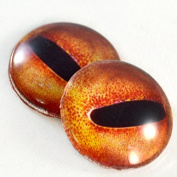 Pair of Orange Octopus Eyes 30mm Glass Eye for Taxidermy Sculptures or Jewellery Making Pendants Crafts Art Doll Wire Wrapping DIY Flatback Cabochon