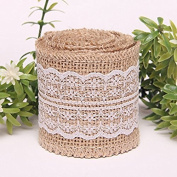 OZXCHIXU(TM) 2M Natural Burlap Ribbon with Lace for Craft Rustic Wedding Belt Strap Craft Jute Hessian