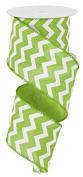 Chevron Wired Edge Ribbon (6.4cm , Lime Green White) - 10 Yards : RG1019E9