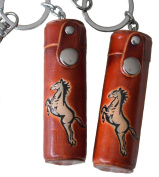 A Pair Set (Two Pieces) ChapStick/ToothPick Holder, Handmade By Genuine Leather, Running Horse Patter Embossed.