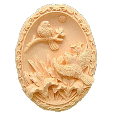 Grainrain Silicone Soap moulds Two Birds Oval White DIY Craft Art Handmade Cold Process Soap Making Mould.