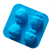 Always Your Chef 4-Cavity Silicone Cute Squirrels Shaped Handmade Soap Moulds Chocolate Moulds, Random Colours