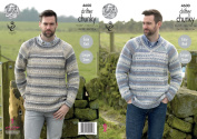 King Cole Mens Chunky Knitting Pattern - Easy Knit Round or V Neck Sweater with Ribbed Detail