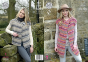 King Cole Ladies Chunky Knitting Pattern - Ribbed Long or Short Capped Sleeve Waistcoats