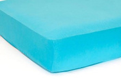 LAT Fitted Crib Sheet Solid Colour For Baby Boys, Soft Organic Cotton Muslin, Standard Size