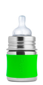 Pura Kiki 150ml Stainless Steel Infant Bottle with Silicone Sleeve, Green