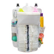 Baby Nappy Caddy & Nursery Organiser - Durable, Safe Material - 40 Nappy Capacity - 8 Compartments Of Various Sizes That Can Hold All Baby Essentials - Sturdy Hooks For Easy Use - Unisex