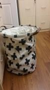 Laundry hamper basket with leather handles cotton plus sign design, 60cm by 41cm