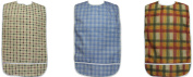 3 Pack Vinyl Backing Adult Bibs with Crumb Catcher and hook and loop Closure - Plaid Prints