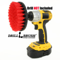 13cm Diameter Red Stiff Bristled Drill Powered Cleaning Brush with Quarter Inch Quick Change Shaft
