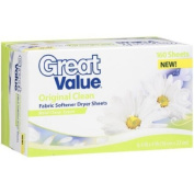 Great Value Original Clean Fabric Softener Dryer Sheets, 160ct
