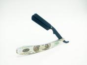 Barber Straight Razor Benjamin 100 Bill Straight Edge Cutthroat Stainless Steel and Matte Arm Plate