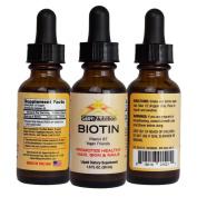 Biotin Liquid Drops, 5000mcg of Biotin Per Serving, 60 servings, No Artificial Preservatives, Vegan Friendly, Supports Healthy Hair, Strengthens Nails and Improves Skin Health