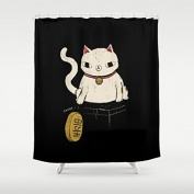 HANHAOKI Actual Lucky Cat Kids Fabric Shower Curtain 170cm x 180cm