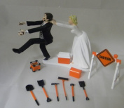 Wedding Reception Party Sign Road Construction Worker Cake Topper