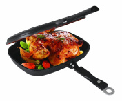 Uniware® Super Quality Non-Stick Coating Double Grill Pan, Rectangular, Magnetic Bakelite Handle, 12.6 x 24cm x 6.6cm