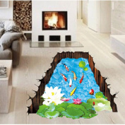 Amaonm® Removable Creative 3D Fish Swim in The Hawthorn & Lotus Flowers leaf False Window Wall Decals Wall Stickers Murals for Bathroom Kids room Bedroom Front floor Living room Decorations