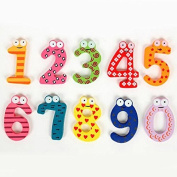 10pc Numbers Cartoon Educational Toy Wooden Fridge Magnet For Baby Kid Gift
