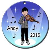 Violin Recital Personalised Ornament - Asian Boy