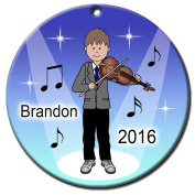 Violin Recital Personalised Ornament - Brown Haired Boy