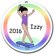 Gymnastics Girl on Beam Personalised Ornament - Black Haired Girl