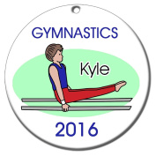 Gymnastics Boy on Bars Personalised Ornament - Brown Hair