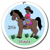 Girl on Horse Personalised Ornament - African American Girl