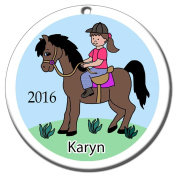 Girl on Horse Personalised Ornament - Brown Haired Girl