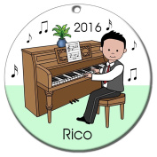 Piano Recital Personalised Ornament - Black Haired Boy