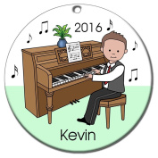 Piano Recital Personalised Ornament - Brown Haired Boy