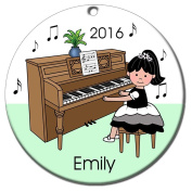 Piano Recital Personalised Ornament - Black Haired Girl