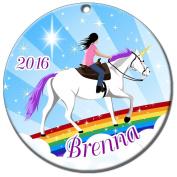 Unicorn Dreams Ornament - Black Haired Girl
