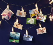 LED Photo Clip String Lights, USB Powered 20 Photo Clips, 16.4ft/5m, Warm White, Perfect for Hanging Pictures, Notes, Artwork in Bedroom, Living room, Birthday, Festival, Party