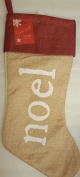 "Jaclyn Smith Faux Linen Stocking ""Noel"" 50cm Holiday Mantel Piece Golden Radiance"