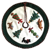 Handmade 41cm Felt Applique Dog Topiary Pet Christmas Tree Skirt Small Tabletop Size