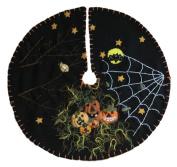 Handmade 28cm Felt Applique Bat Jack-O Halloween Tree Skirt Small Tabletop Size